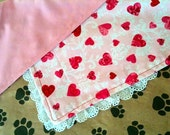 Valentine Large Dog Bandana Pink Hearts and Lace With Choice of Red or Pink Lining