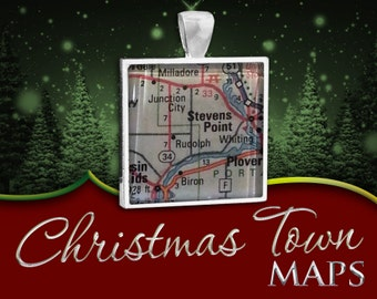 Rudolph, Wisconsin | Christmas Town Map Pendant
