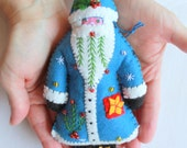 Blue Santa is Coming to Town Felt Santa Ornament