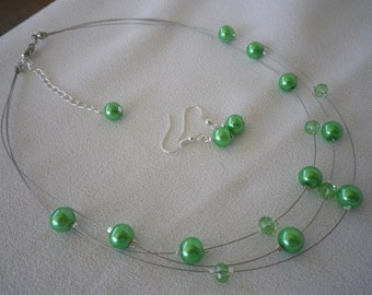 SALE Apple Green Floating Pearls and Crystals Necklace and  Earrings