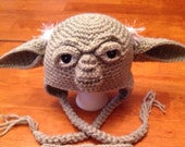 Crochet Large Child Teen or Adult Yoda Hat. Made to Order