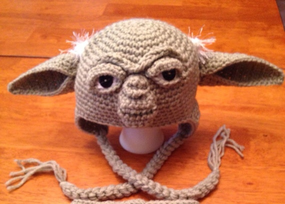 Crochet Yoda Hat : Crochet Large Child Teen or Adult Yoda Hat. Made to by MamaJody54