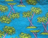 RESERVE FOR ORCAMAN vintage 80s novelty fabric, featuring awesome palm tree design, 1 yard, 19 inches