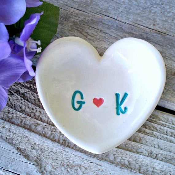 Heart shaped ring dish monogrammed ring dish by sayyourpiece for Heart shaped jewelry dish