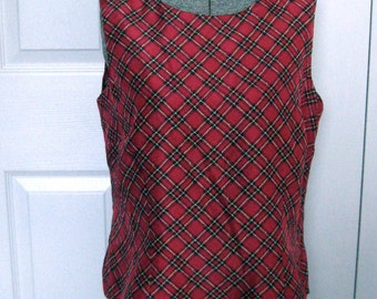 Cranberry Tartan Silk Top . plaid silk top . red tartan silk top . tartan top . tartan silk top