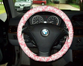 Pink and White Damask Steering Wheel Cover