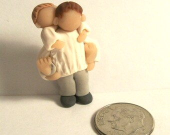 Father and Child Piggy Back One of a Kind Hand Sculpted Miniature Family Figurine Fathers Day