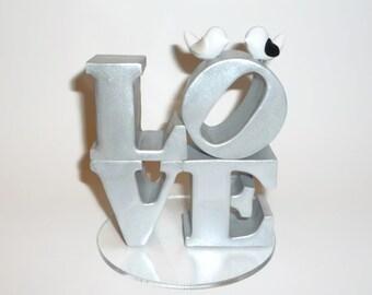 Wedding cake topper - Custom love topper with love birds
