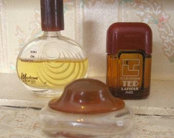 Antique 3 Mini Perfume Bottles Miniature Madame De Carven Obsession Ted Lapidus Paris