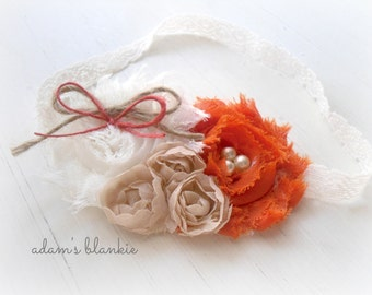 Warm Pecan Pie  - Orange Taupe Tan Rosettes - Cream Lace - Jute Twine - Baby Infant Newborn Girls Adults - Photo Prop
