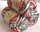 Creme de la Creme Cotton Yarn, CHRISTMAS OMBRE,  red white green dishcloth cotton