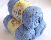 CORNFLOWER blue cotton yarn, Creme de la Creme Cotton Yarn, worsted weight dishcloth cotton