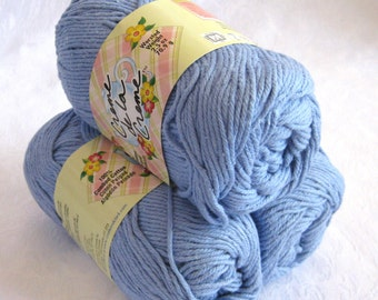 CORNFLOWER blue cotton yarn, Creme de la Creme Cotton Yarn, worsted weight dishcloth cotton