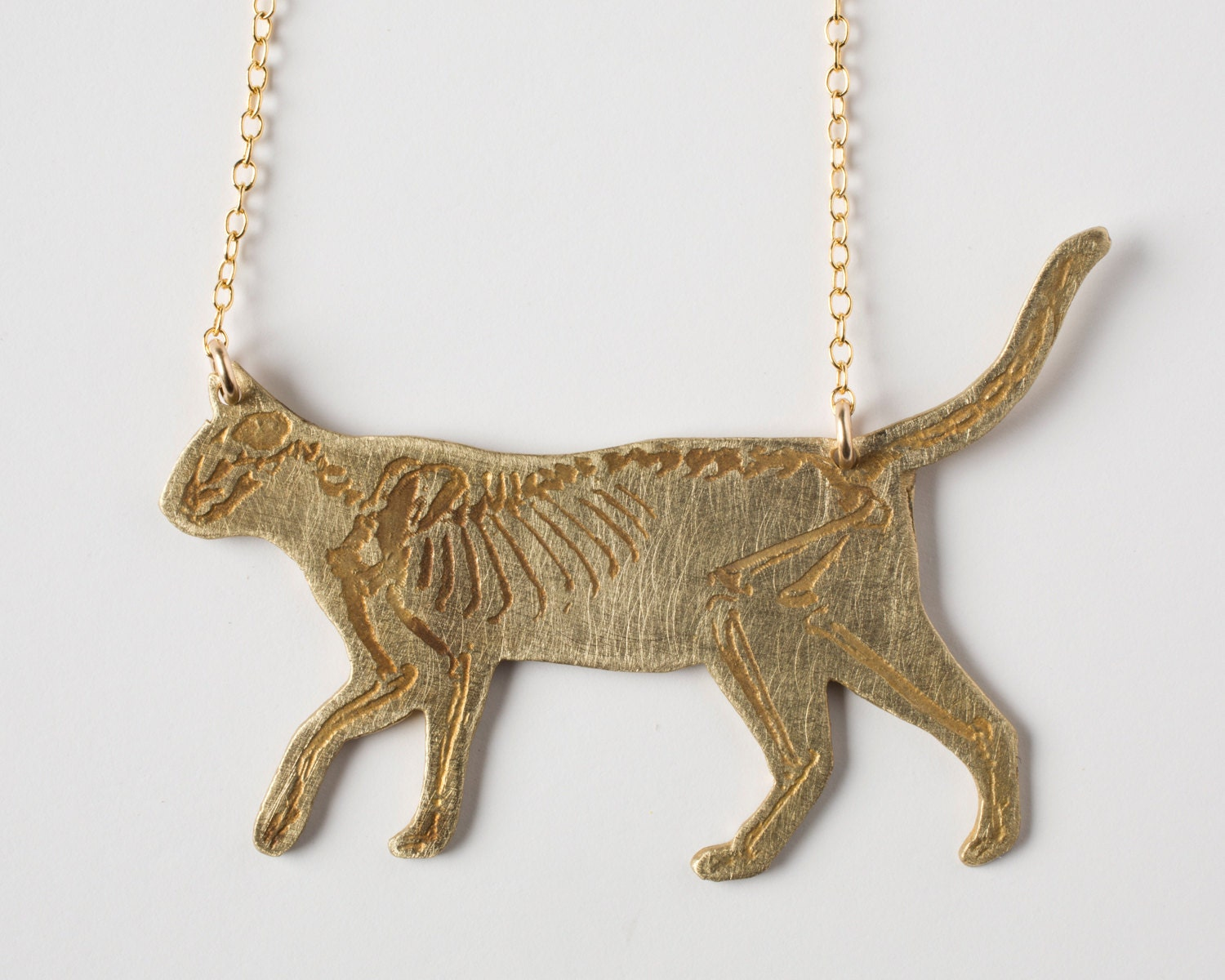 Cat Skeleton Drawing Cat Necklace Cat Skeleton