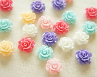 12 pcs Lovely Color Rose Cabochon (13mm) FL378