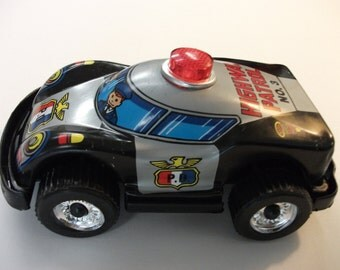 Vintage Metal Police Patrol Toy Car