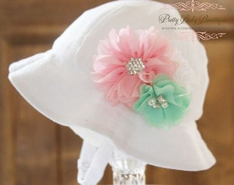 Baby Girl Sun Hat - Easter Bonnet - Bucket Hat - (Removeable)  Pink  White and Mint Flower Clip With White Sun Hat- Fits (Your Pick Size)