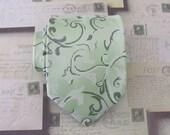 Mens Ties Necktie Dusty Green and Cream Floral Mens Tie