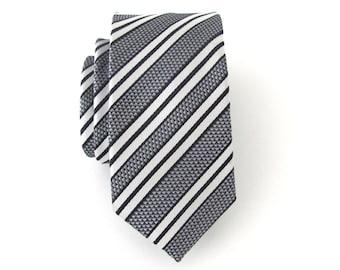 Mens Ties. Black Silver White Stripes Men's Skinny Tie