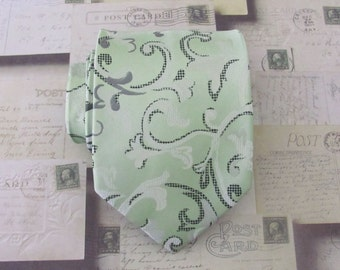 Mens Ties Necktie Dusty Green and Cream Floral Mens Tie