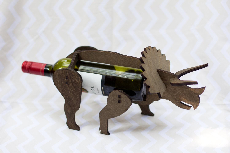 Wine o saur wooden dinosaur wine rack triceratops - Dinosaur wine holder ...