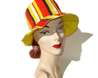 Vintage 60s Mod Beach Hat Floppy Red Blue Yellow Stripes