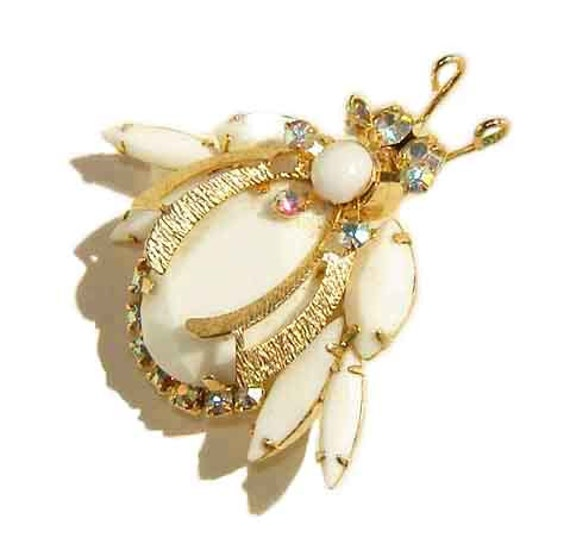Vintage Juliana Bug Brooch DeLizza & Elster White Glass AB Rhinestone Insect Pin - Book Piece