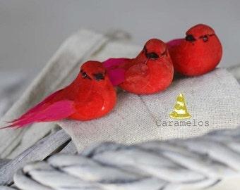 Set of 6 Red Mini mushroom birds