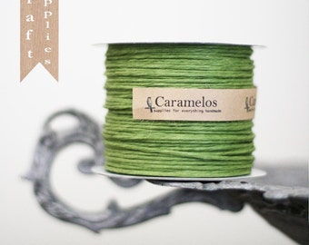 5 yds of Moss Green Paper Covered Wired Twine