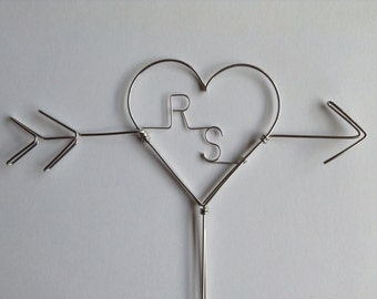 Arrow & Heart Wedding Cake Topper, Personalized with Bride and Groom's Initials