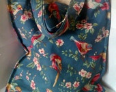 Shopping Bag, Eco Bag - Blue - Floral and Bird Canvas