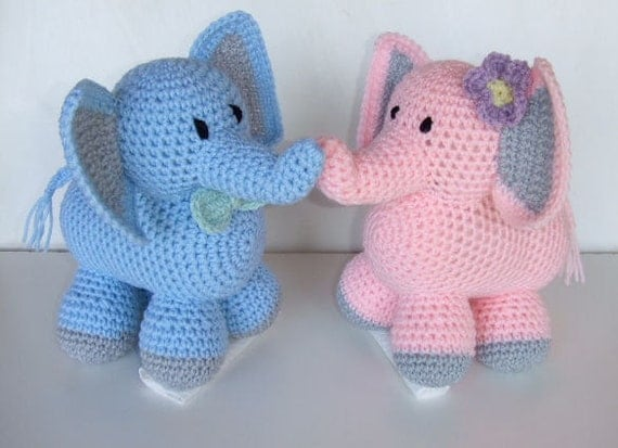 Ella The Elephant Free Crochet Pattern : Crochet Pattern CV116 Ella and Eddie The Elephants Digital