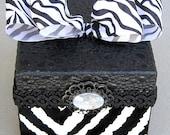 Flocked Zebra Animal Print Decorative Keepsake Jewelry Box