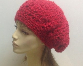 Homespun Beret Tam in Candy Apple