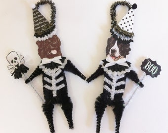 Newfoundland Dog SKELETON Halloween vintage style CHENILLE ORNAMENTS set of 2