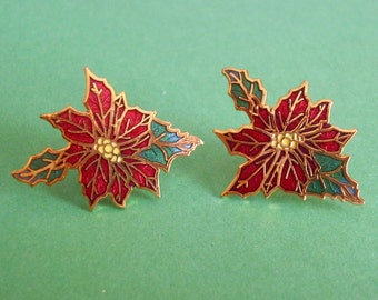 Vintage Red Poinsettia Flower Earrings