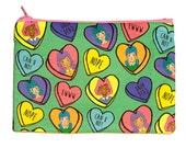 Zipper Pouch | Candy Heart Cuties | Bitter Sweet Conversation Hearts