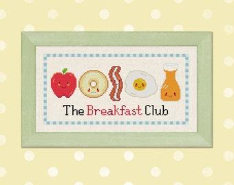 The Breakfast Club. Cute Morning Foods Cross Stitch Pattern. PDF File