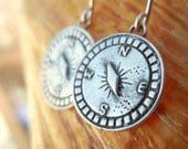 Compass Jewelry, Compass Earrings, Sterling Silver Compass, Compass Dangle Earrings, Nautical Compass Jewelry, Nautical Jewery Nautical