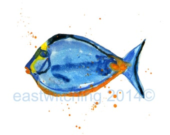 FISH Print, fish art, Pisces gift, fish paintings, watercolor fish, beach house decor
