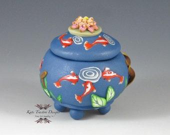 Koi Pond Polymer Clay Pot