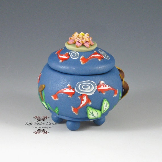Items similar to koi pond polymer clay pot on etsy for Clay fish pond