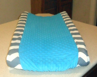 Gray Chevron and Turquoise Minky Dot Changing Pad Cover