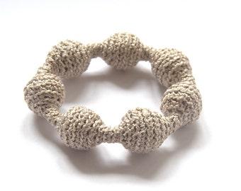 Crochet bracelet beige Aquamarine blue Valentine gift for her handmade Birthday gift for her summer beach custom colors