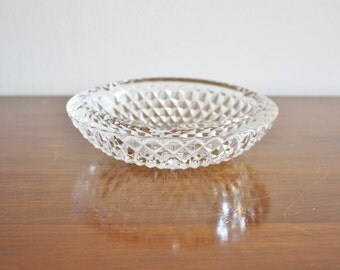Vintage round crystal dish, ashtray