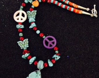 Brighten Up Your Day With This Day of the Dead Moroccan Tribal Turquoise African Trade Bead Necklace