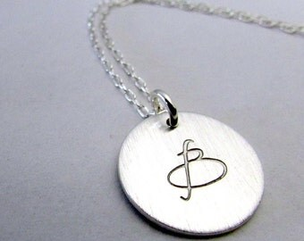 Silver Initial Necklace, Sterling Silver (.925) Letter Jewelry, Script, Uppercase, LYLA by E. Ria Designs