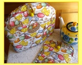 Tea Cozy Reversible-Yellow Chicks in Nest and Yellow Roses Tea Cozy and Hot Pad, Baby Chicks and Speckled Eggs Tea Cozy, Baby ChicksTea Cozy
