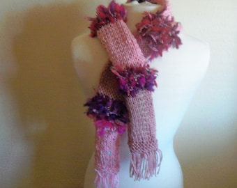 Ladies Hand Knit  Shades of Pink Scarf