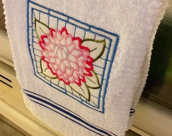 Embroidered Kitchen Towel with Flowers, pink, blue, white